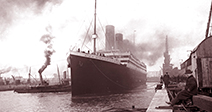 the SS Titanic leaving Southampton on April the 10th 1912 - Stock Photo