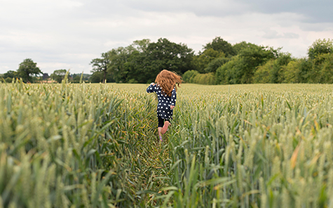 A little girl with red hair running through a wheat field. - Stock Photo
