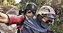 Traveller selfie on motorcycle - Stock Foto